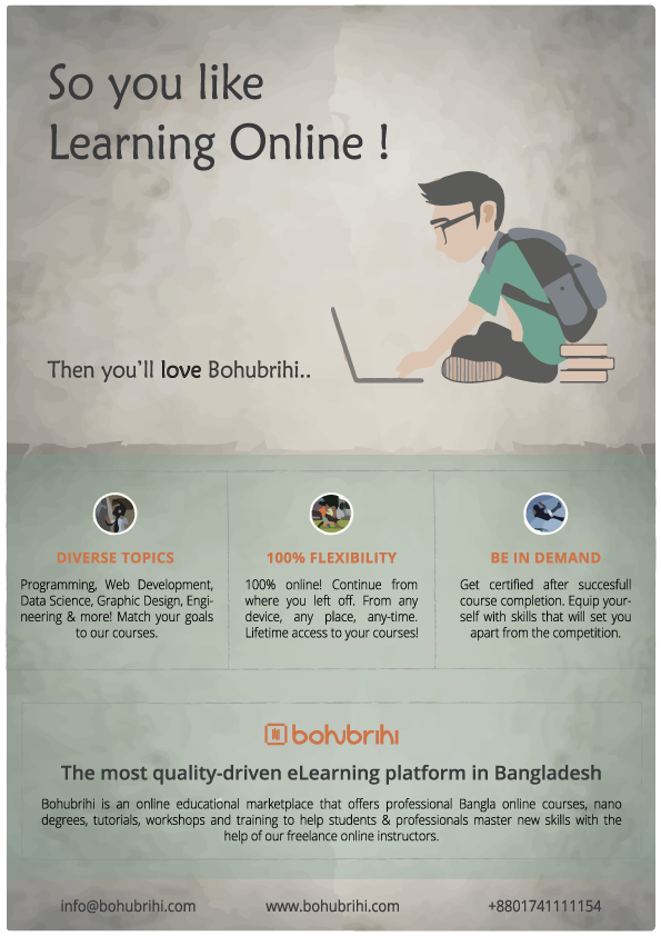 Bohubrihi The best elearning platform in Bangladesh - Online Course Infographics