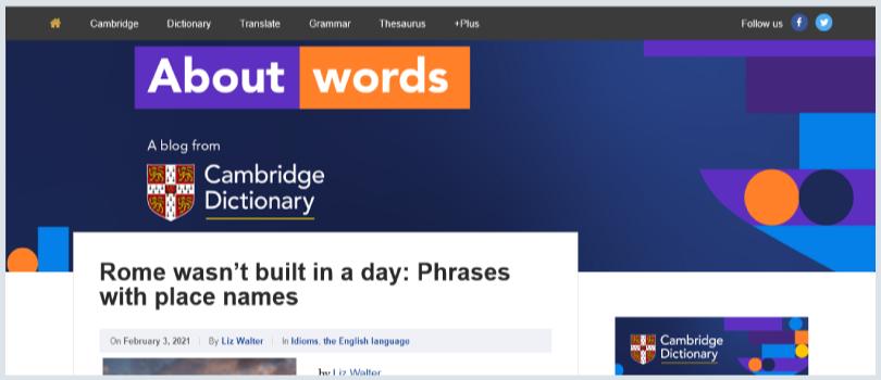 কন্টেন্ট রাইটিংয়ের উদ্দেশ্য: ক্যামব্রিজ অভিধানের 'About Words' ব্লগ