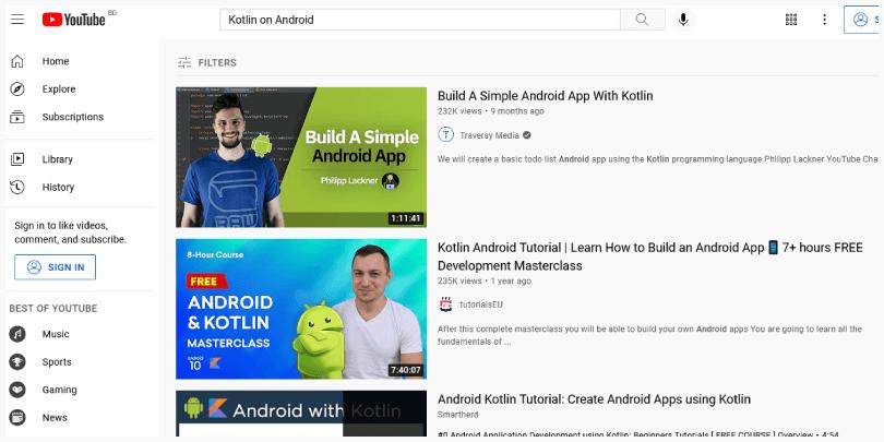 """ইউটিউবে """"Kotlin on Android"""" কোয়েরির ফলাফল"""